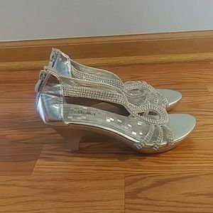 Silver wedding or prom shoes with kitten heel